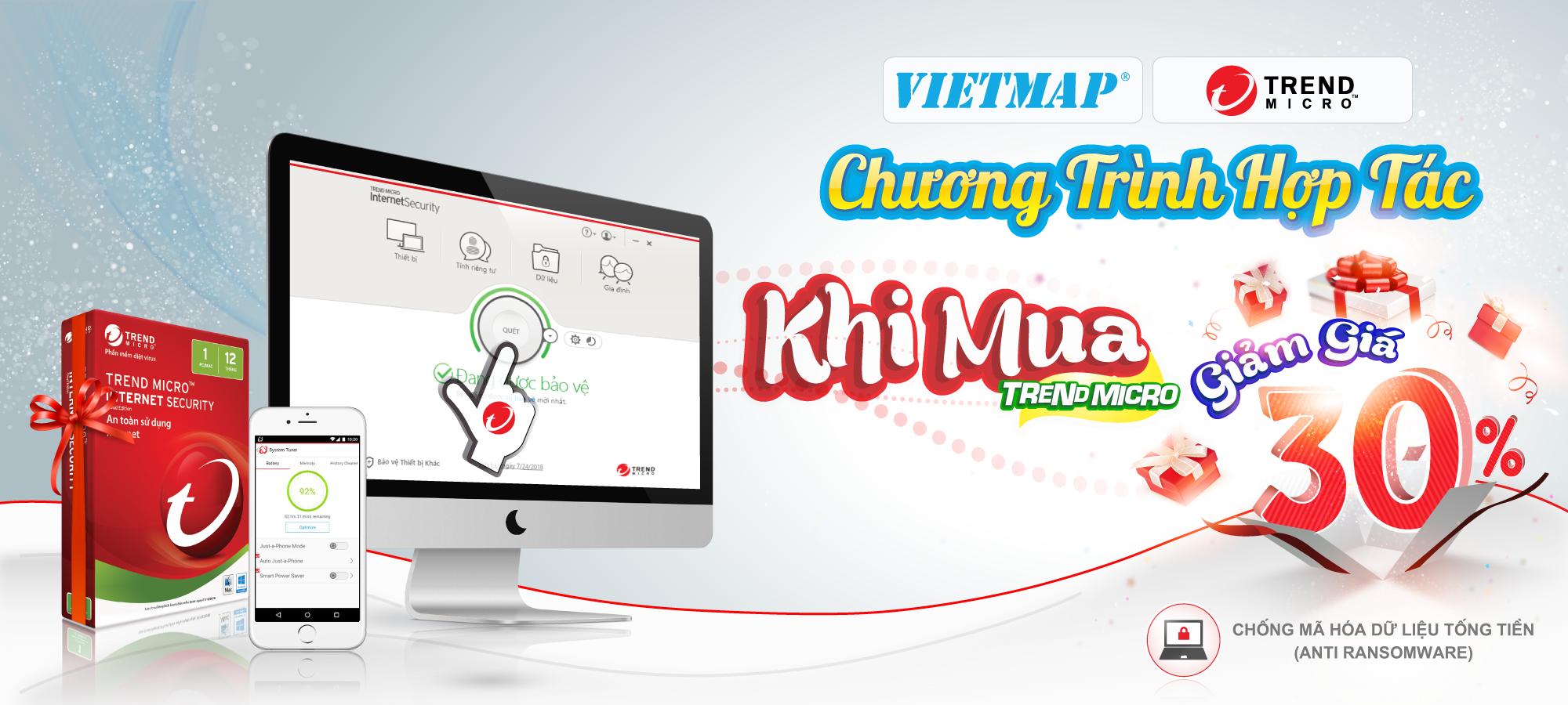 Giảm giá 30% giá trị sản phẩm của phần mềm diệt virus Trend Micro cho khách hàng VietMap