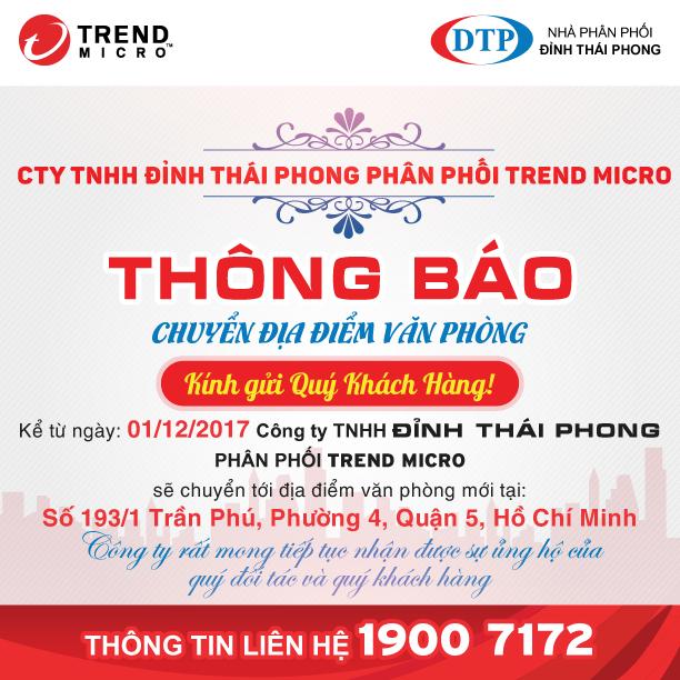 Công ty Đỉnh Thái Phong chuyển văn phòng