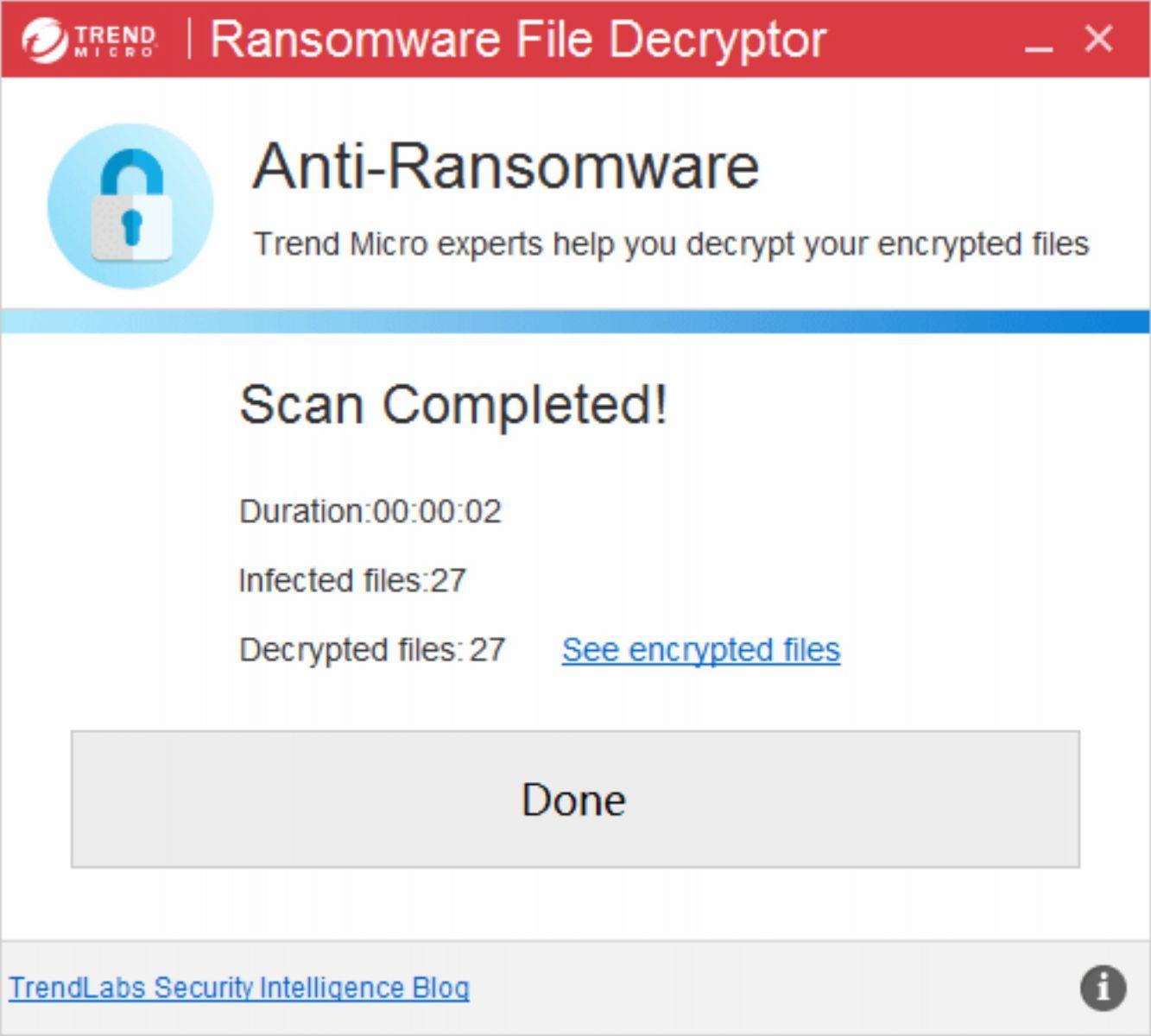 Công cụ khôi phục dữ liệu bị virus mã hóa màn hình truy cập của Trend Micro
