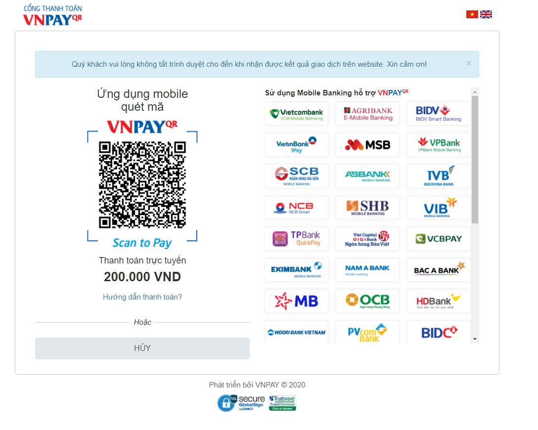 Hướng dẫn thanh toán thông qua cổng thanh toán VNPAY
